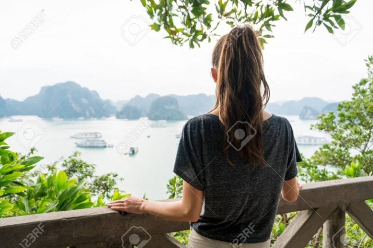 92796533 Woman Look On Halong Bay In Vietnam From Titop Island