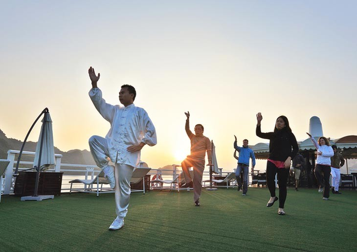 Taichi Exercise On Sundesk Starlight Cruise